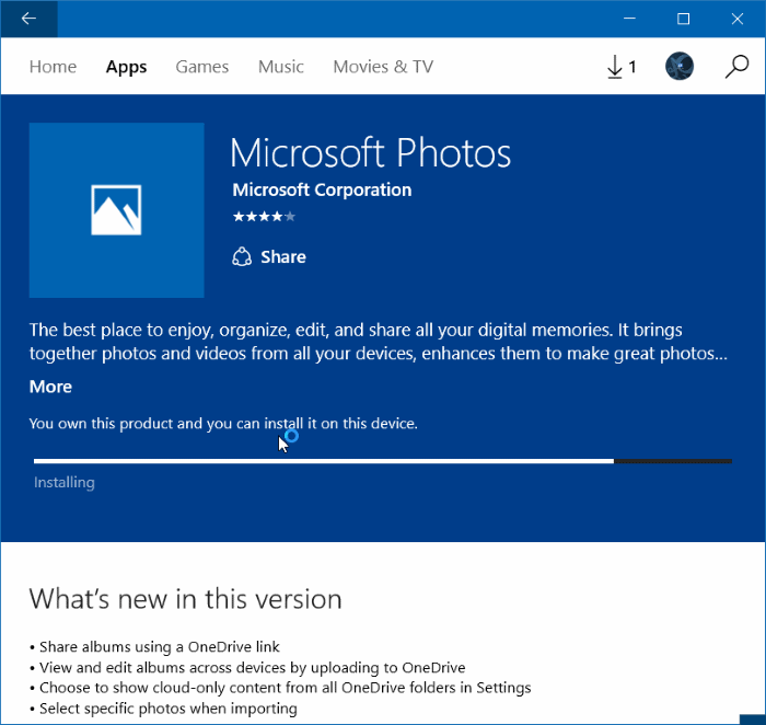 Reinstall Photos app in Windows 10 step 10