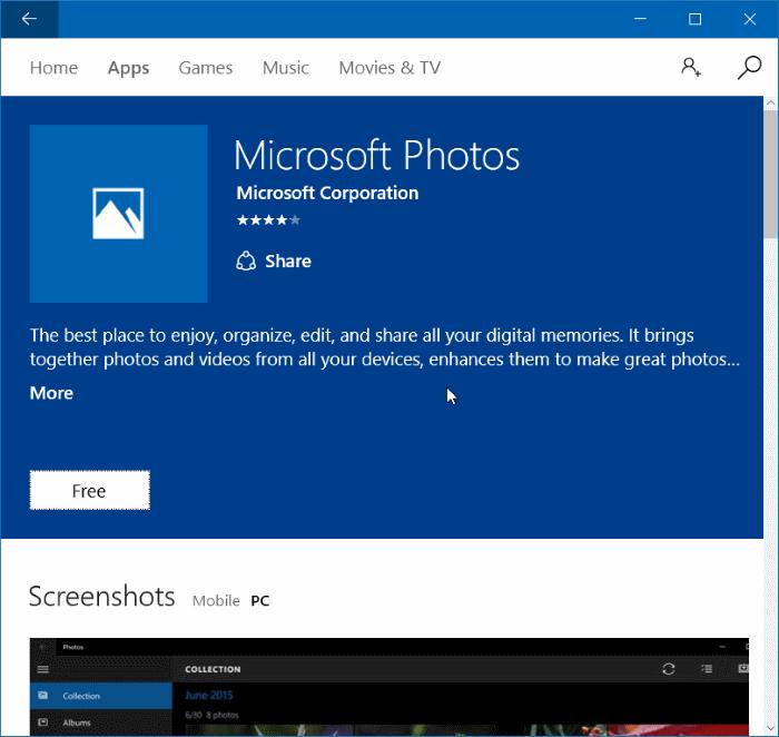 Reinstall Photos app in Windows 10 step 7