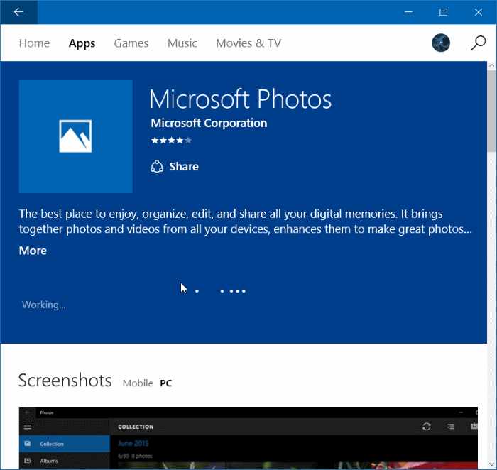 Reinstall Photos app in Windows 10 step 8