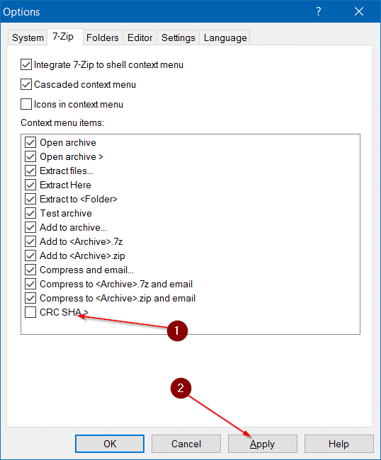 Remove CRC SHA from context menu in Windows pic5