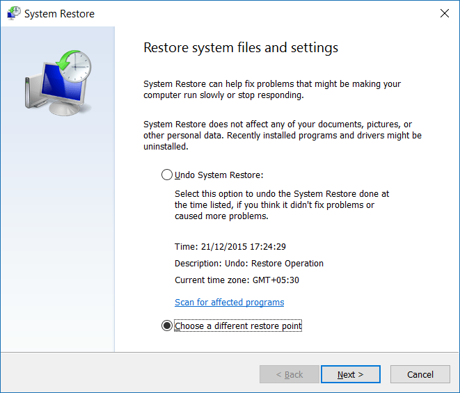 Restore Windows 10 to an earlier date step4