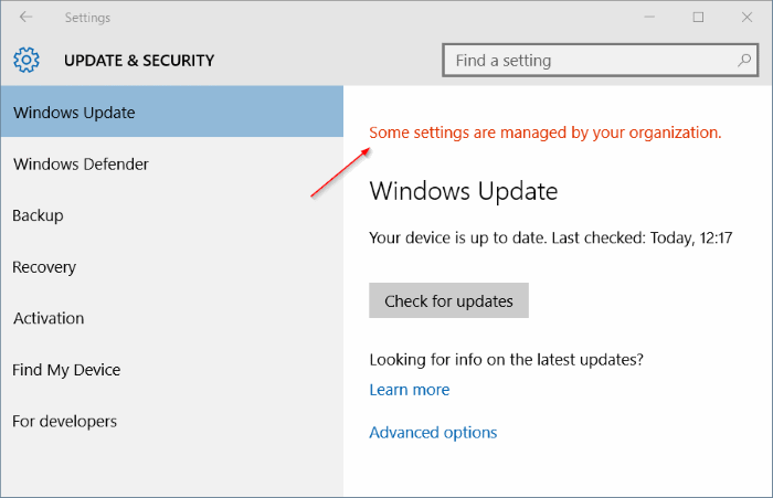 Some settings are managed by your organization in Windows 10 pic1