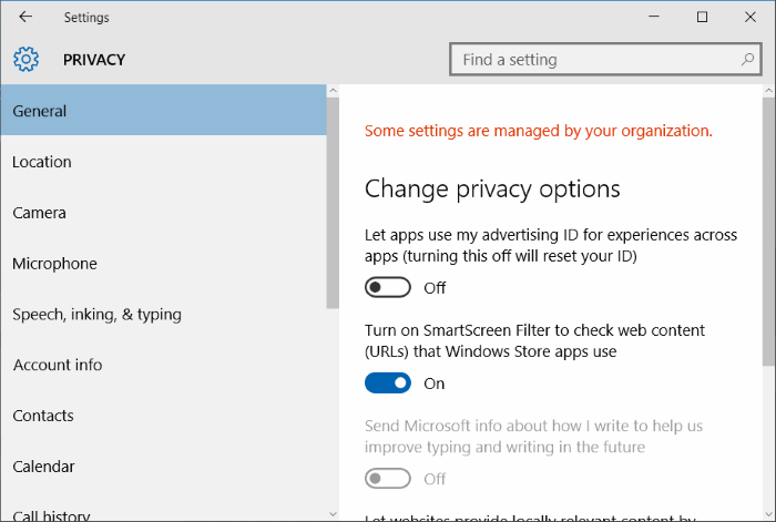 Some settings are managed by your organization in Windows 10 pic3