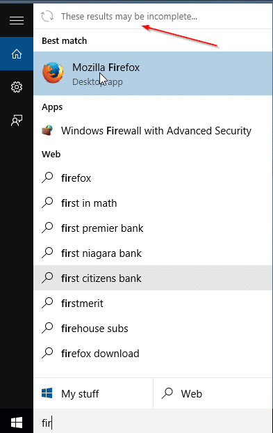 These results may be incomplete message in Start menu Windows 10