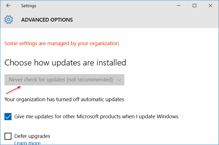 Turn off automatic windows updates in Windows 10 using Registry