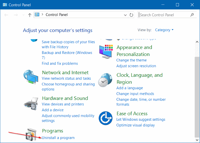 Uninstall an update in Windows 10 step2