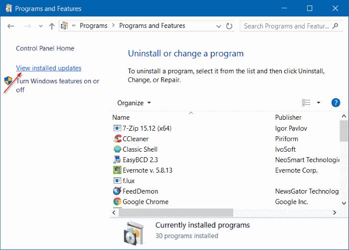 Uninstall an update in Windows 10 step3