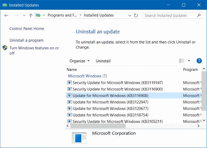 Uninstall an update in Windows 10 step4