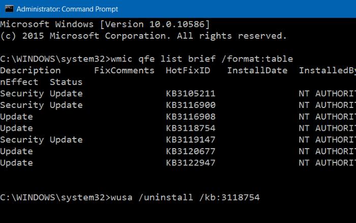 Uninstall an update in Windows 10 step8