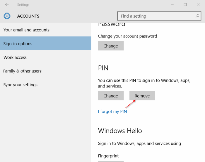 how to get rid of sign in on windows 10