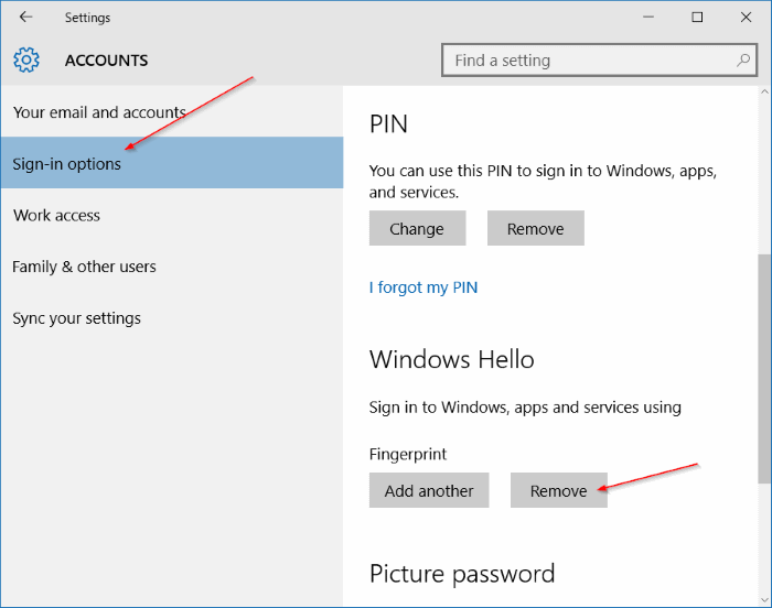 Use fingerprint to sign in to Windows 10 (11)