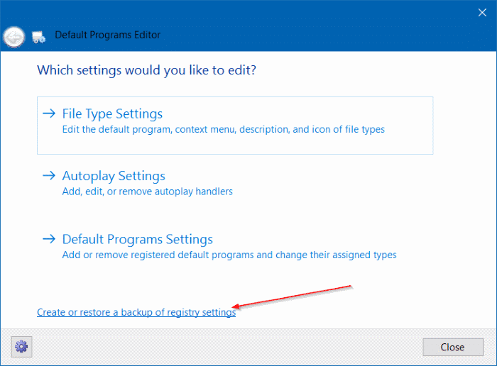 backup and restore file association in Windows 10 pic1 (1)