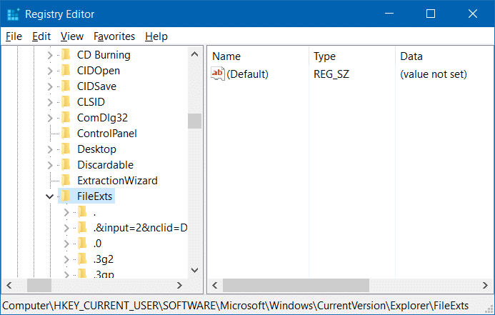 backup and restore file associations in Windows 10 step2