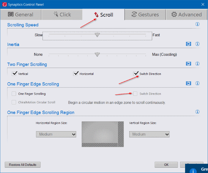 change touchpad scroll direction in Windows 10 step3