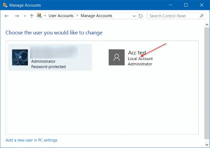 windows 10 delete local administrator account
