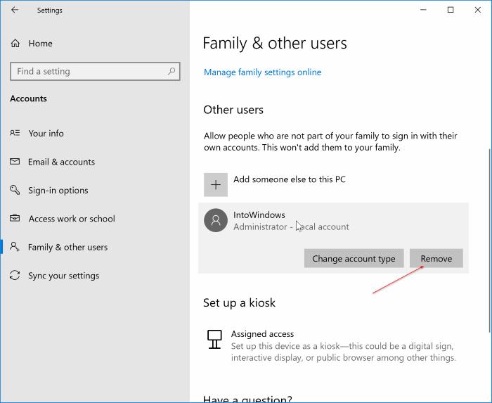 delete user accounts in Windows 10 pic01