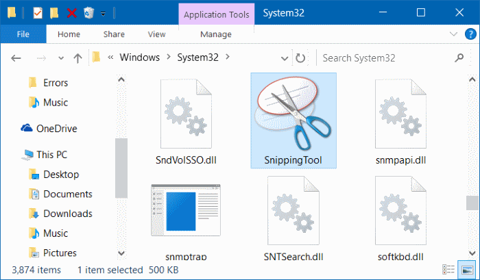 fix to Snipping tool missing from Windows 10 Start menu pic2