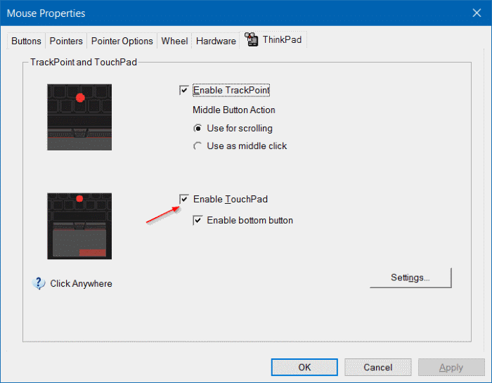 fix to touchpad not working in Windows 10