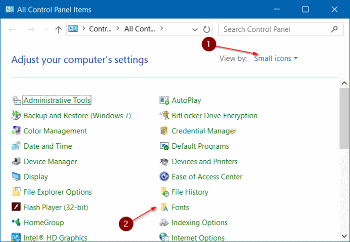 install fonts as shortcut in Windows 10 step2