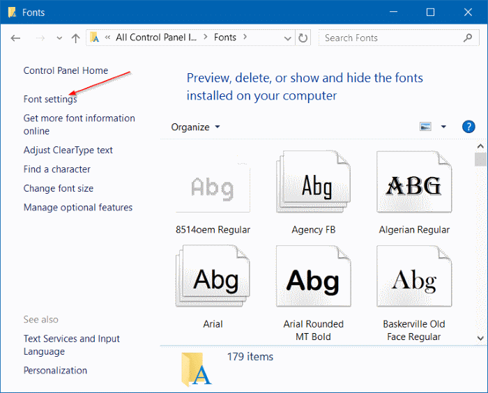 install fonts as shortcut in Windows 10 step3