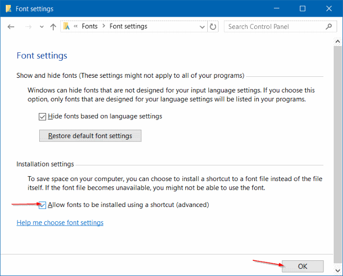 install fonts as shortcut in Windows 10 step4