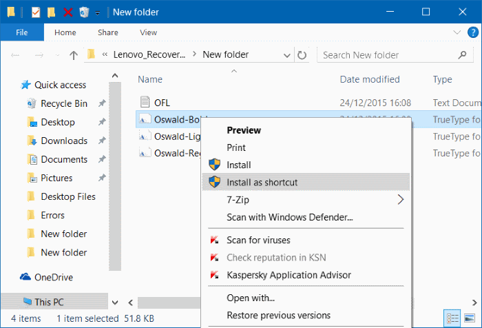 install fonts as shortcut in Windows 10 step5