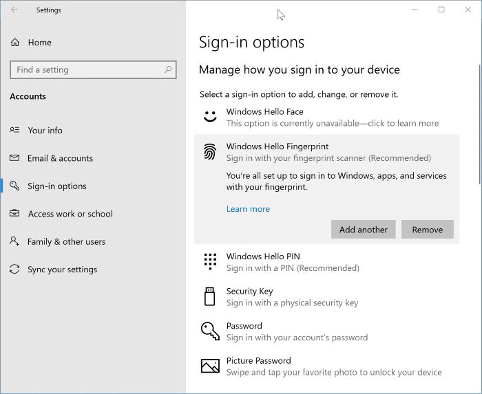 remove Windows Hello fingerprint password pic1