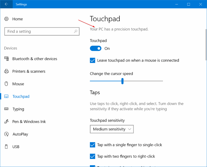 turn on or off touchpad gestures in windows 10