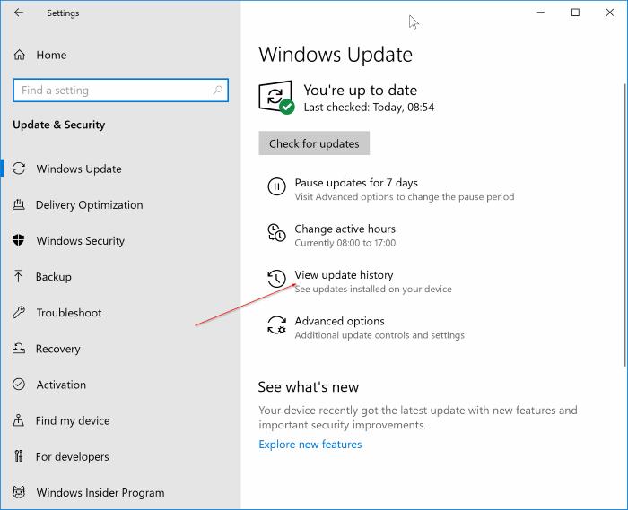 uninstall updates in Windows 10 pic1