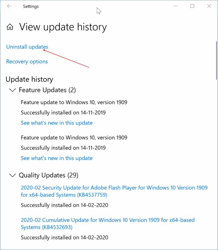 uninstall updates in Windows 10 pic2