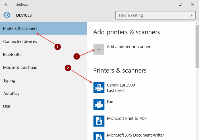Add a printer to Windows 10 step3