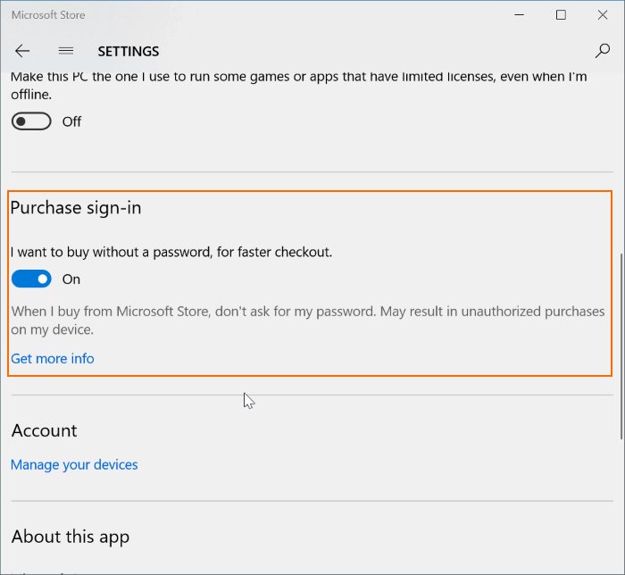 buy apps without entering Store password in Windows 10
