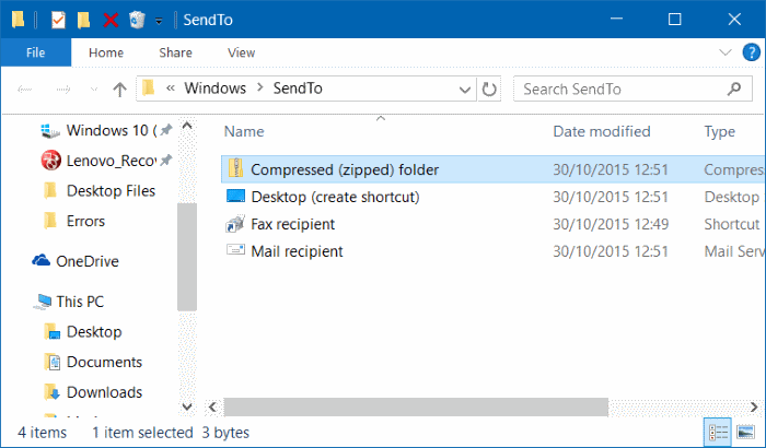 Compressed zipped folder missing from send to menu in Windows 10 step3