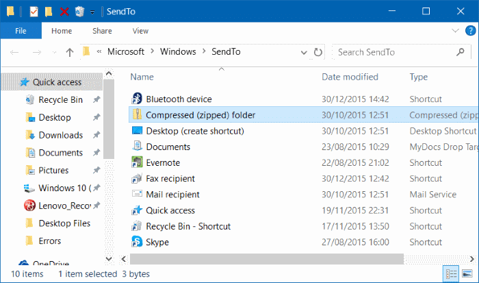 Compressed zipped folder missing from send to menu in Windows 10 step5