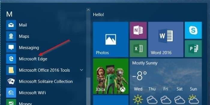 Create Microsoft Edge shortcut on desktop in Windows 10 step1