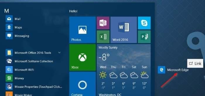 Create Microsoft Edge shortcut on desktop in Windows 10 step2