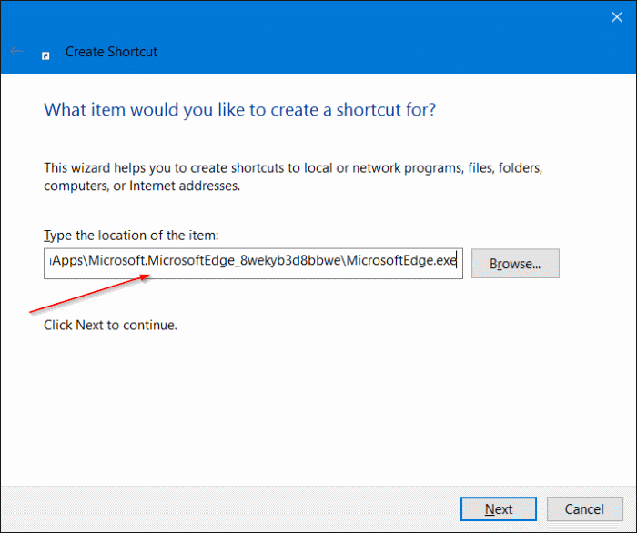 Create Microsoft Edge shortcut on desktop in Windows 10 step4.JPG