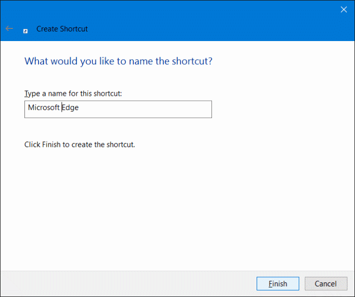Create Microsoft Edge shortcut on desktop in Windows 10 step5