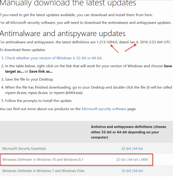 Download Windows Defender updates for Windows 10 pic1