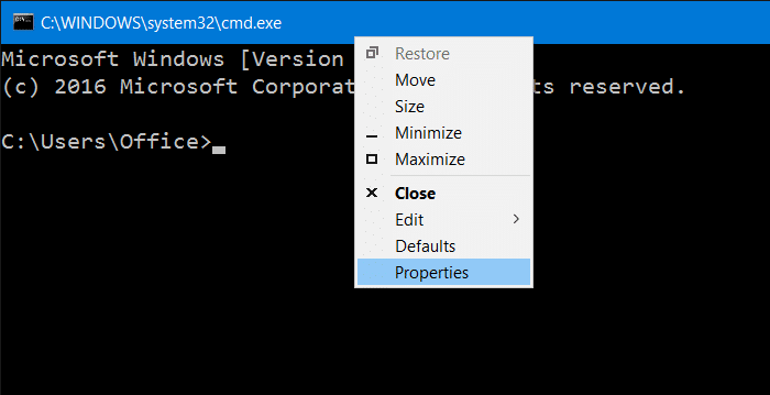 Make Command Prompt Transparent in Windows 10 pic1
