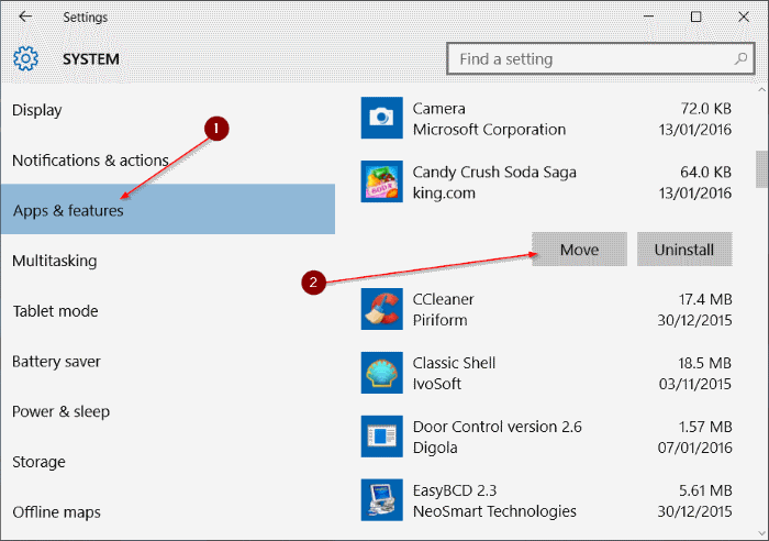 Move Store apps to another drive or SD card in Windows 10 step3
