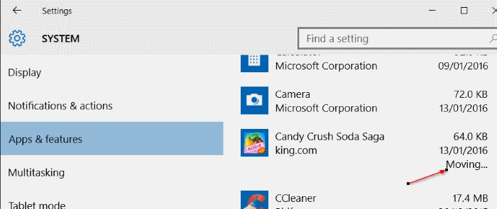 Move Store apps to another drive or SD card in Windows 10 step5