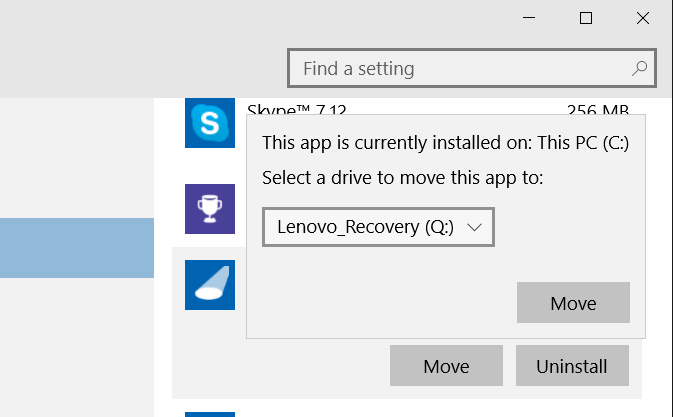 Move Store apps to another drive or SD card in Windows 10 step6