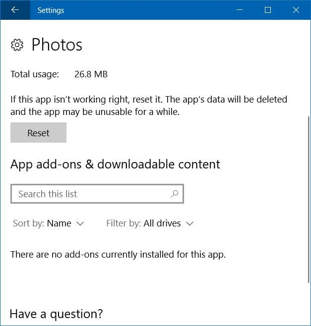 photos app not opening in windows 10