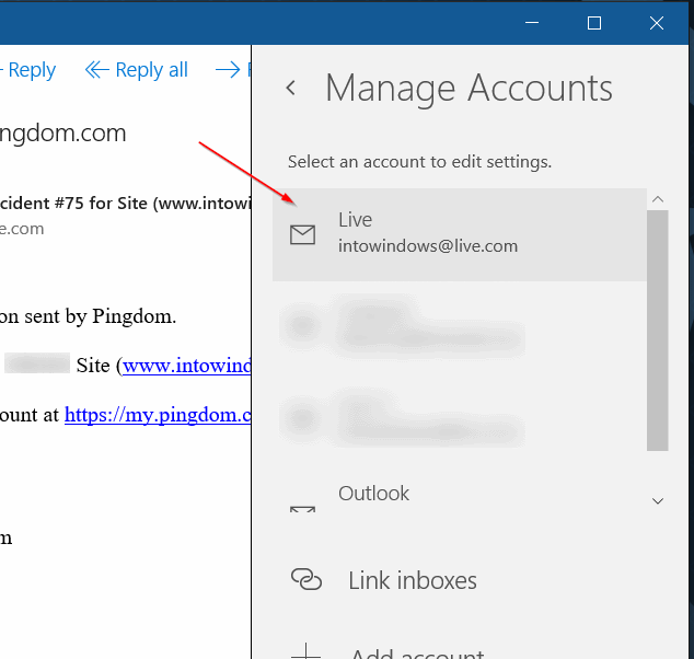 Sign out of Mail app in Windows 10 step3