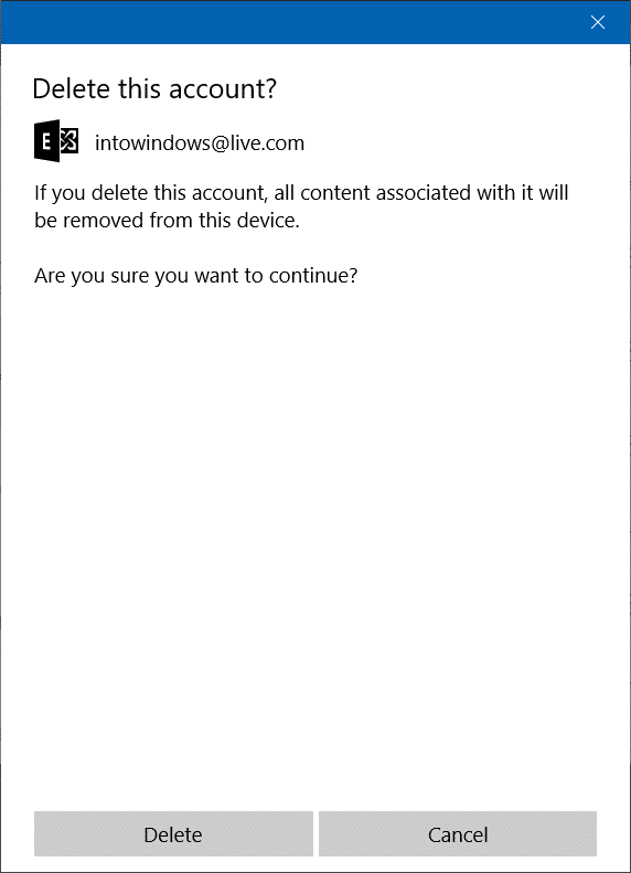 Sign out of Mail app in Windows 10 step5