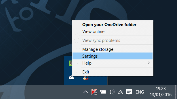 Sign out of OneDrive In Windows 10 Step1