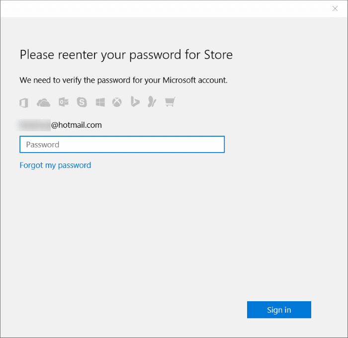 Stop Store from asking password in Windows 10