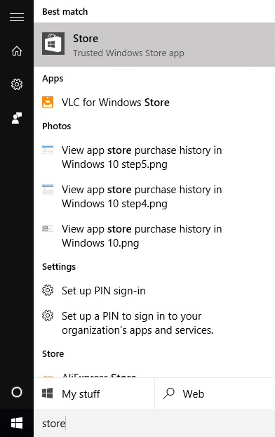 View app store purchase history in Windows 10 step1