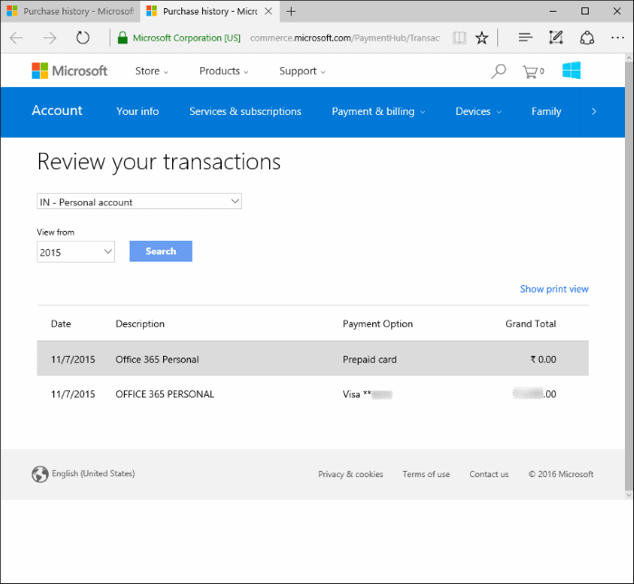 View app store purchase history in Windows 10 step5